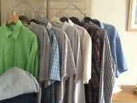 "Bundle of men's summer shirts and trousers 44/ 46"" waist"