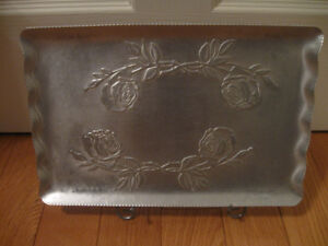 "VINTAGE 9"" x 13"" PEWTER SERVING TRAY with FLUTED EDGE"