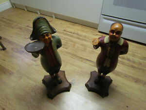REALLY OLD SOLID WOOD STATUES, BUTLER AND SAILER. OLD USED