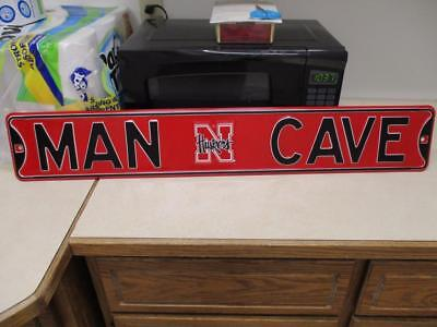 NCAA Nebraska Corn Huskers MAN CAVE Big Heavy Metal Street Wall Sign 6x36