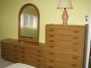 Solid Oak Men & Women Dressers with matching Headboard & Frame