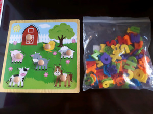 50 kids books, a puzzle and magnetic letters