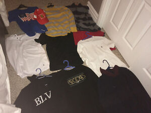 Lots of shirts, sweaters, shoes for sale