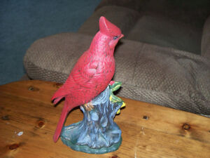 "POTTERY ""CARDINAL ON A TREE STUMP"""