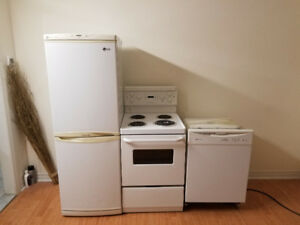 Complete 3 piece white special size combo fridge stove dishwashe