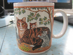 Rare Unicef Coffee Mug Mom Tabby Cat & Kittens