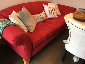 Cherry red sofa 1/2 price like NEW and may transport