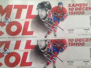 Hockey ticket December 10 Montreal vs Colorado food incl.