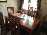Beautiful Acacia Wood Dining Table and Chairs
