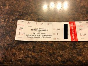 2 tickets to Oiler vs Blues Dec 21 Sec 233, Row 9 ($150 total)