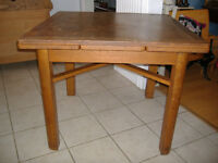 Antique English solid oak trestle style dining table