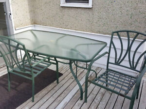 Large Patio Table with 2 Chairs and Cushions