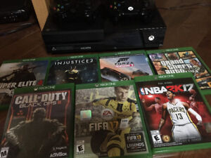 Xbox one, 7 games, 2 controllers