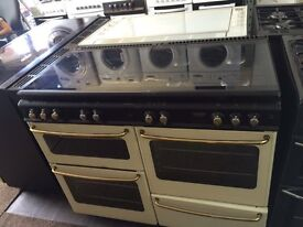Black & cream new home 110cm seven burners gas cooker grill & double oven good condition with guaran