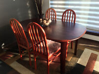 Rectangular dining table and four chairs