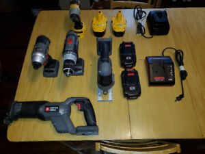 18v NiCad Porter Cable & Dewalt cordless tool sets for sale.