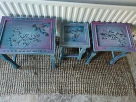 Stunning nest of three tables - Handpainted