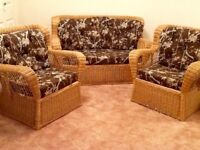 Wicker loveseat and 2 arm chairs in good condition.
