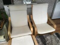 IKEA poang armchair 2 for sale plus 1 footstool