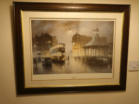 Two Famous Don Brekon Paintings Of Old Glasgow in beautiful frames