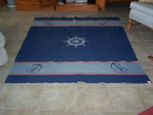 NORTH STAR NAUTICAL THEME REVERSIBLE WOOL BLANKET - SIZE 71 X 63