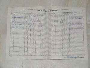 1943 Daily Force Report for Buffalo Ankerite Gold Mines