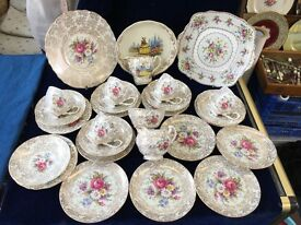 28 Pieces of Mix and Match English Vintage Bone China 1940's Cups and Saucers, China Cups.,