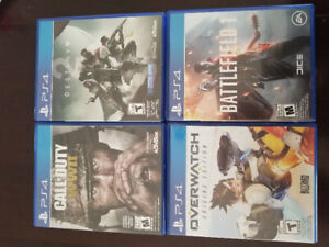 Ps4 games. Call of Duty ww2. Destiny 2. Overwatch. Battlefield.