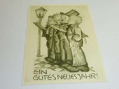 Alte Originale Hummel Karte Schwarz weiß gezackter Rand NR S 12 Müller unbesch.