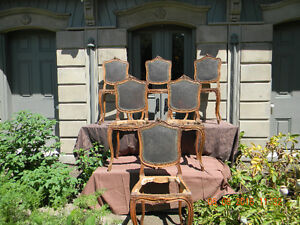 6 Loius XV style French Walnut chairs