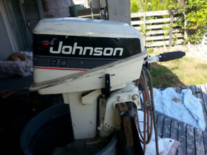outboard motor 8hp Johnson 2-Stroke with tank and fuel line.