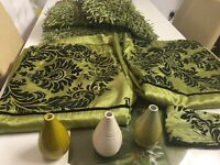 Lime green room accessories Curtains, Cushions, Vases
