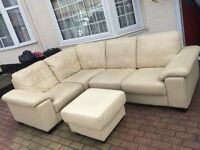 Genuine soft Leather corner sofa set fit in left or Right position