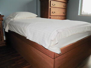 Custom built single bed with storage underneath.