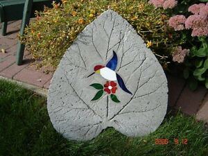 Concrete garden stones made with stained glass. ( Large )