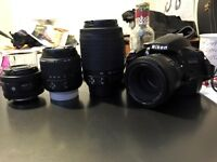 Nikon D3200 with four lenses