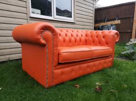 2 seater leather chesterfield sofa orange