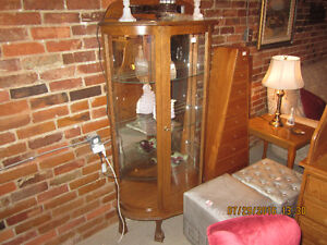 China Cabinet Oak Bow Front Curio Cabinet
