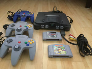 NIntendo 64 with 3 controllers and 2 games