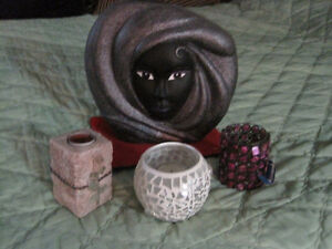 Black face vase with 3 candle holders-STRATHROY London Ontario image 1
