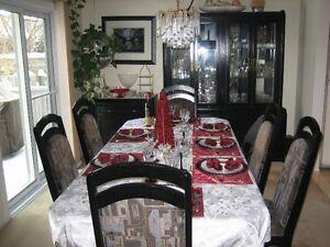 10 Piece Solid Black Oak Dining Set