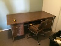 Desk and chair, heavy metal ,office grade