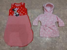 Disney Mini Mause Baby Sleeping Bag and Pink Bathrobe 0-6mc