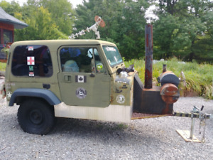 UNIQUE JEEP HUNTING CAMPER with wood heat and smoker ZOMBIES