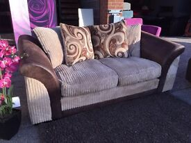 Fabric 3 Seater Sofa in Brown Fabric and Jumbo Cord