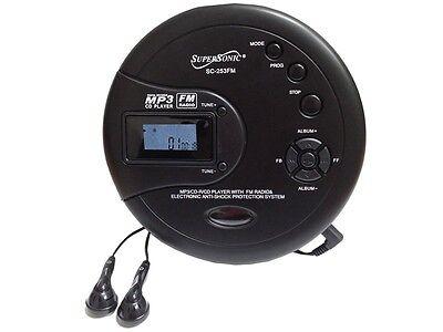 Supersonic SC-253 40 Sec Anti-Shock Personal MP3/CD/FM Radio Player +Headphones