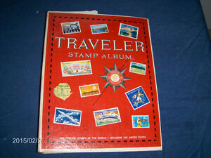 VINTAGE 1964 TRAVELER STAMP ALBUM-USED WITH FEW STAMPS