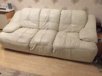 Cream leather sofa suite and footstool