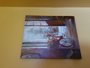 Bike and flowers canvas art