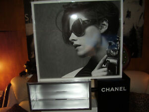 Chanel Sign Display Case Advertising Two Sided Black and White